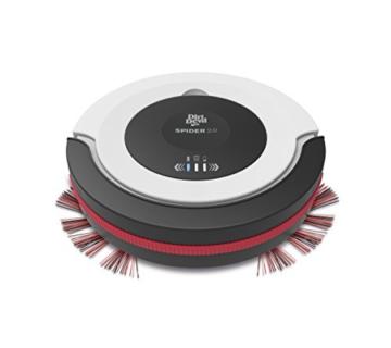 Dirt Devil M612 Spider 2,0 Saugroboter, lange Laufzeit: 90 min, 3 Reinigungsprogramme, Extra flach 7 cm, geringes Gewicht 1,5 kg, weiß / schwarz / rot -